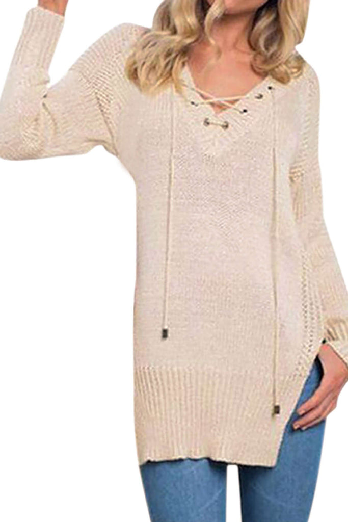 Iyasson V-Neck Women Lace Up Loose Sweaters Long Sleeve Knitted Pullovers