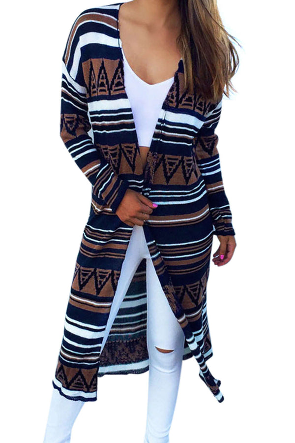 Iyasson Women Bohemia Print Long Cardigan