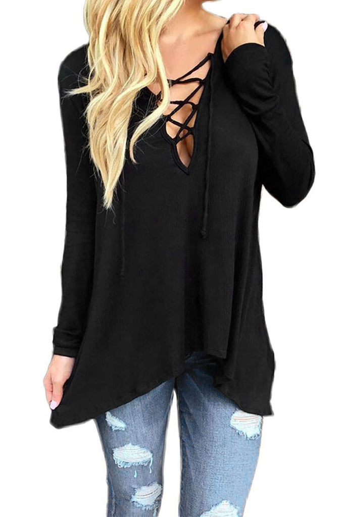 Iyasson Sexy Hollow Irregular V Neck Blouse