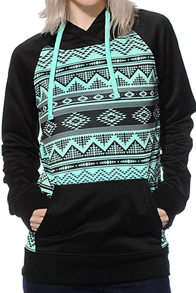 Iyasson Geometric Printed Kangaroo Pocket Hoodie