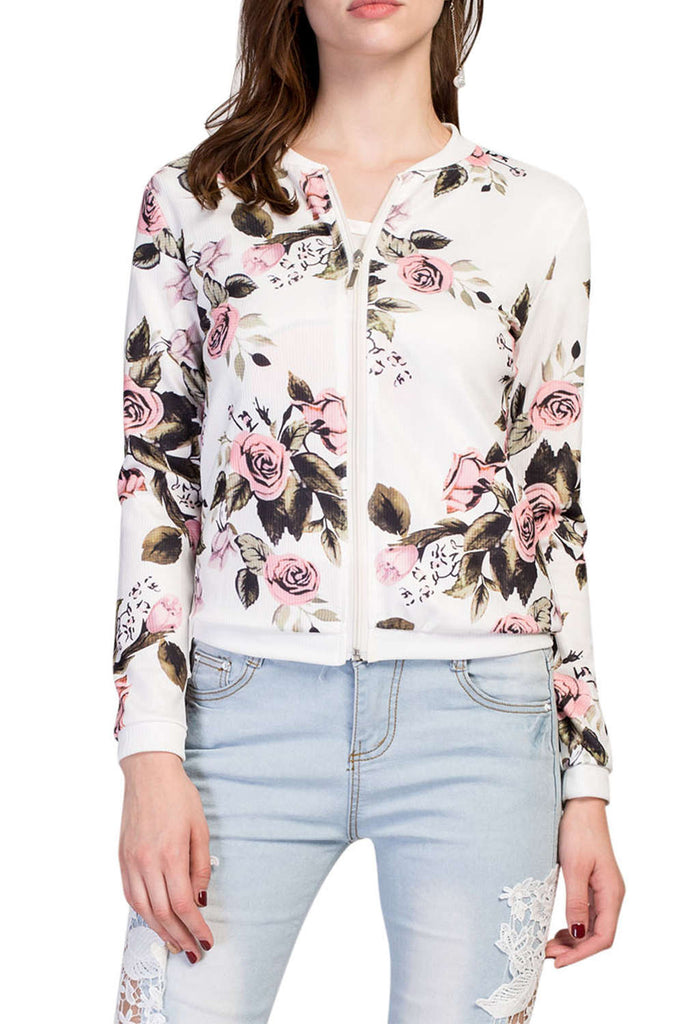Iyasson Floral Printed Zipper Baseball Jacket