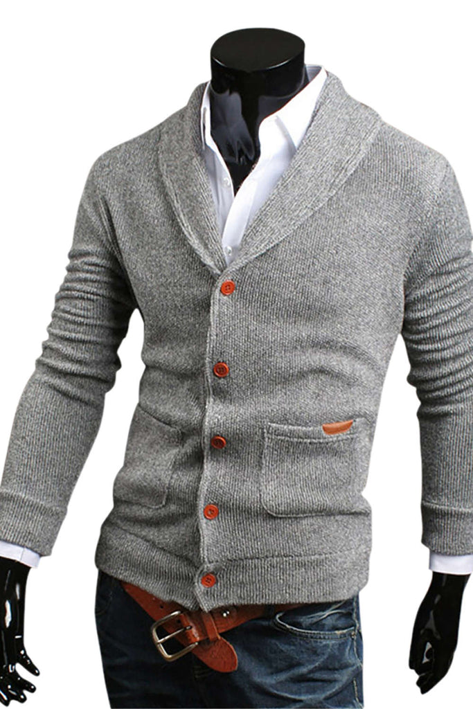 Iyasson Men's Shawl Collar Cardigan Sweater