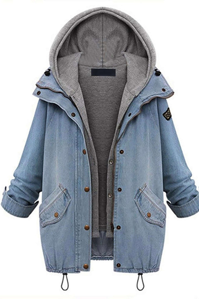 Iyasson Women's Two-piece Blue Denim Coat with Hoodie Vest