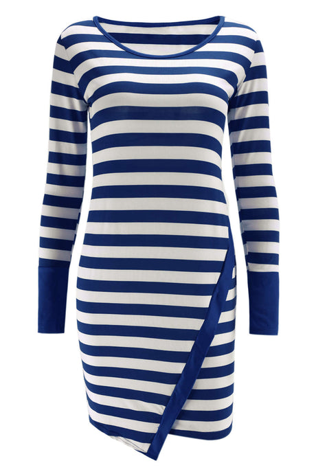 Iyasson Striped Long Sleeve Bodycon Dress