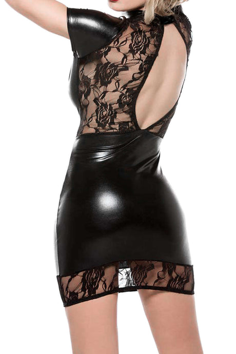 Iyasson PU Leather Lace Corset Bustier Dress
