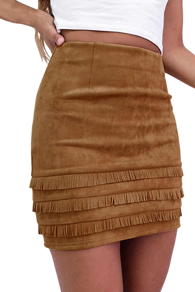 Iyasson Tassel Decorated Faux Leather Mini Skirt