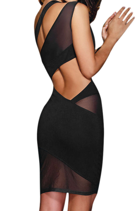 Iyasson Sexy Mesh One-shoulder Bodycon Mini Dress