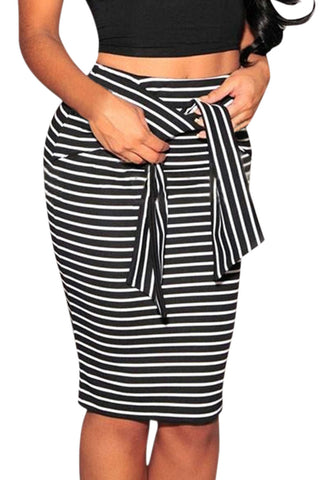 Iyasson Striped Waist Tied Bodycon Skirt