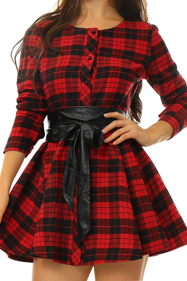 Iyasson Women's Long Sleeve Plaid Print Shirt Dress