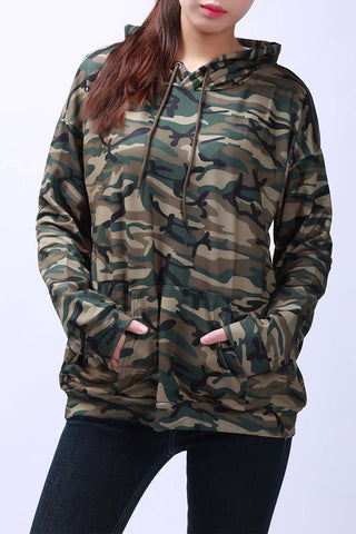 Iyasson Camo Color Hooded Pullover Hoodie
