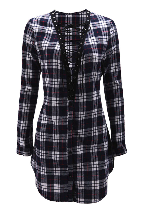 Iyasson Deep V-neck Lace Up Plaid Shirt Dress