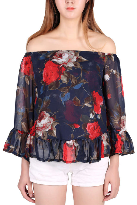 Iyasson Women's Casual Floral Off Shoulder Chiffon Blouse