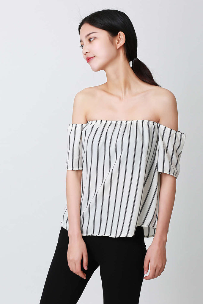 Iyasson Women's Off Shoulder Stripe Casual Blouse