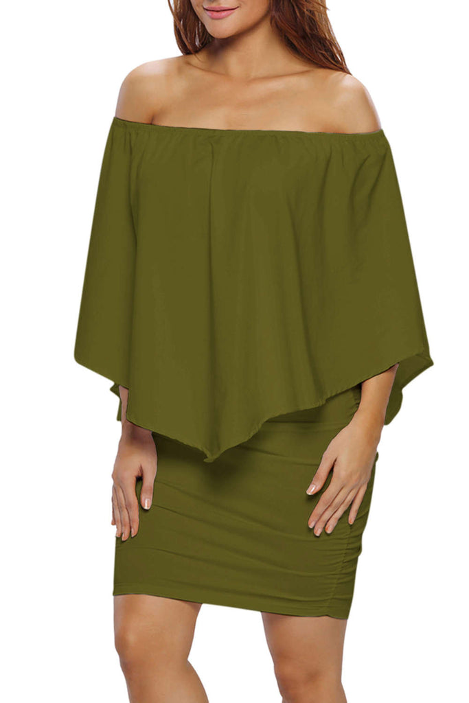 Iyasson Off-shoulder Batwing Bodycon Dress