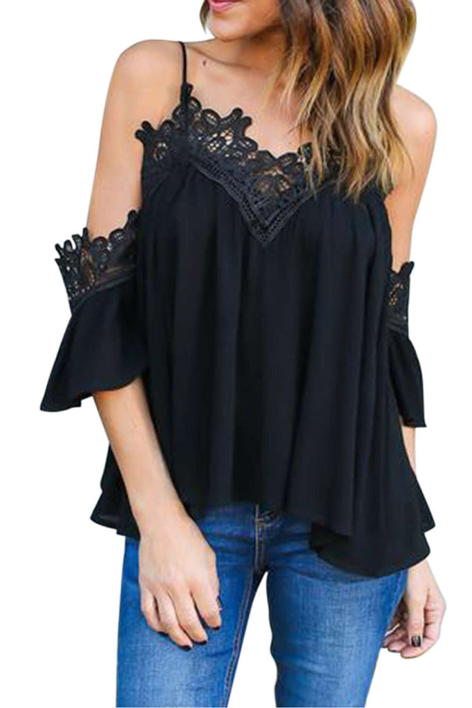 Iyasson Cold Shoulder Lace Trim Camis