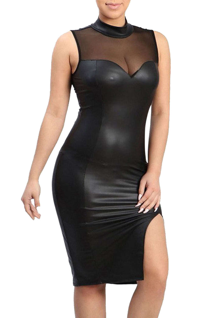 Iyasson Women Sleeveless Mesh splicing Leather Bodycon Dress