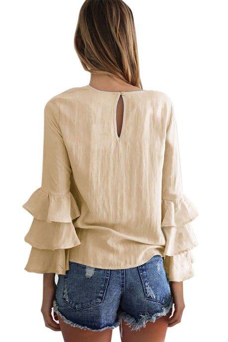 Iyasson Round Neck Bell-Sleeve Blouse Top