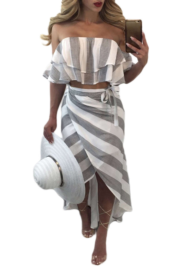 Iyasson Striped Off-Shoulder Two Pieces Maxi Skirt Set