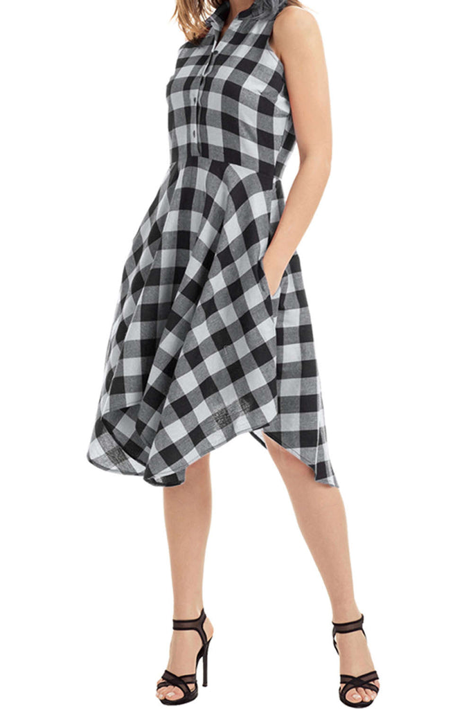 Iyasson Gingham Sleeveless Shirt Dress