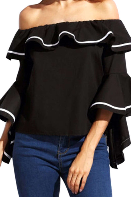 Iyasson Off Shoulder Flare Sleeve Casual Blouse