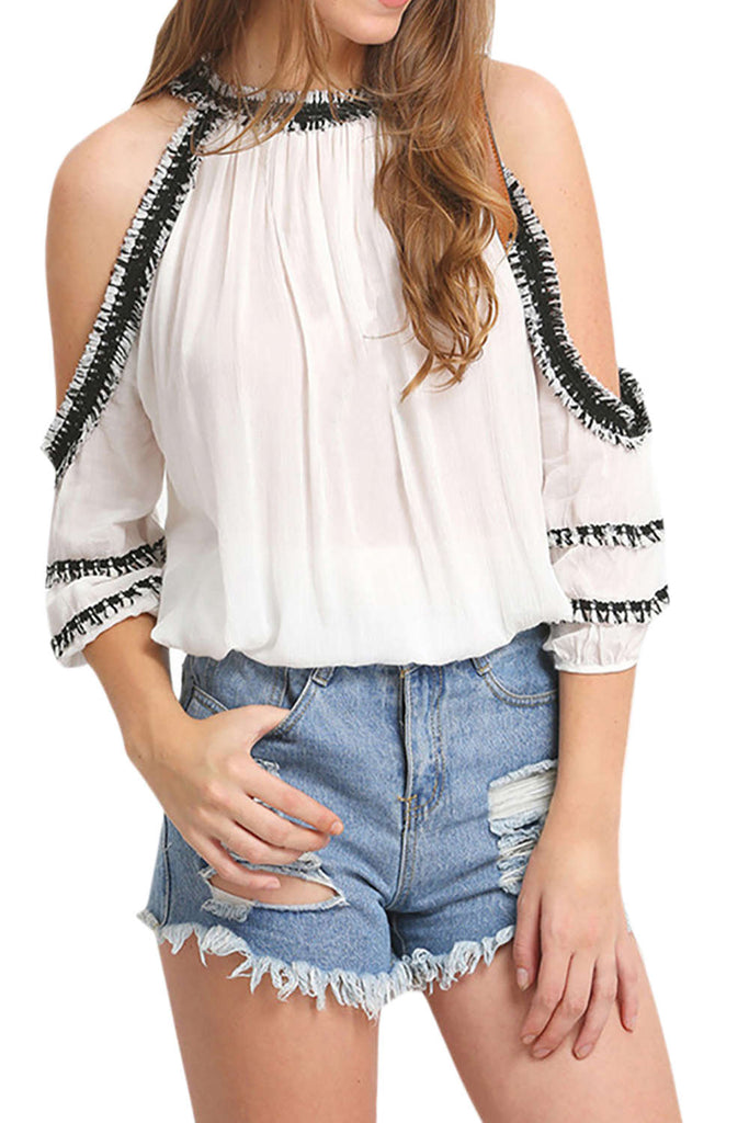 Iyasson Cold Shoulder Contrast Trims Blouses