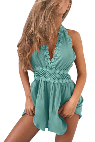 Iyasson Women's V Neck Backless Lace Splicing Romper