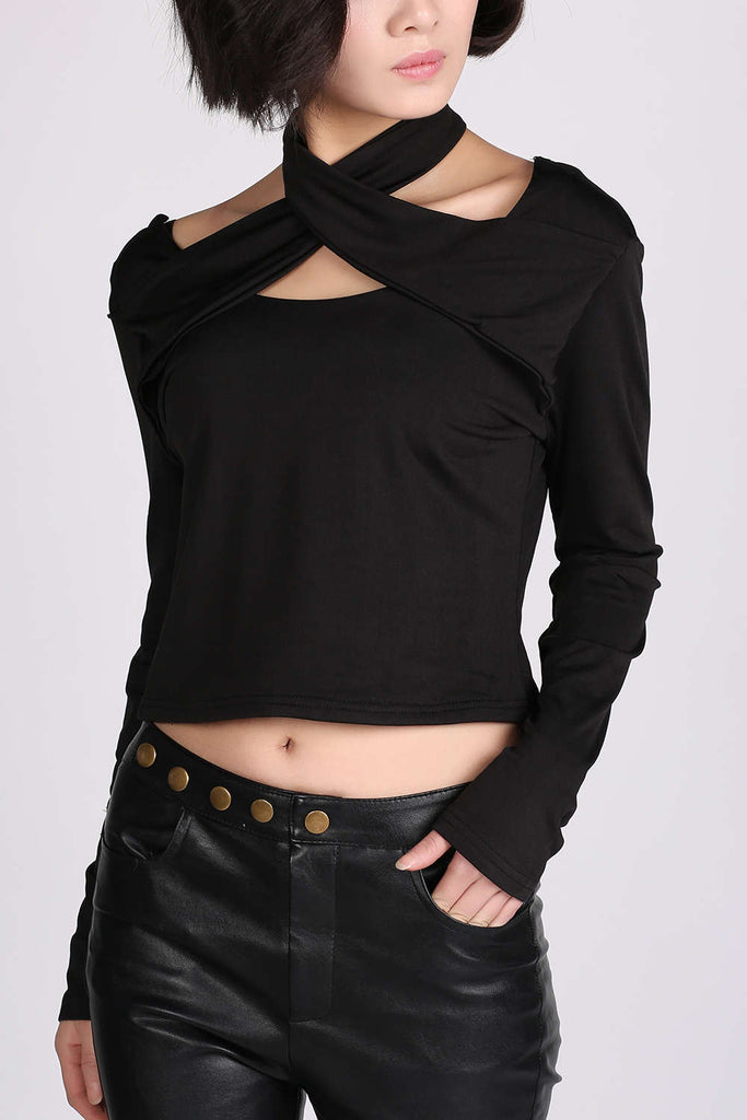 Iyasson Womens Criss Cross Front Bandage Slim Long Sleeve Crop Top