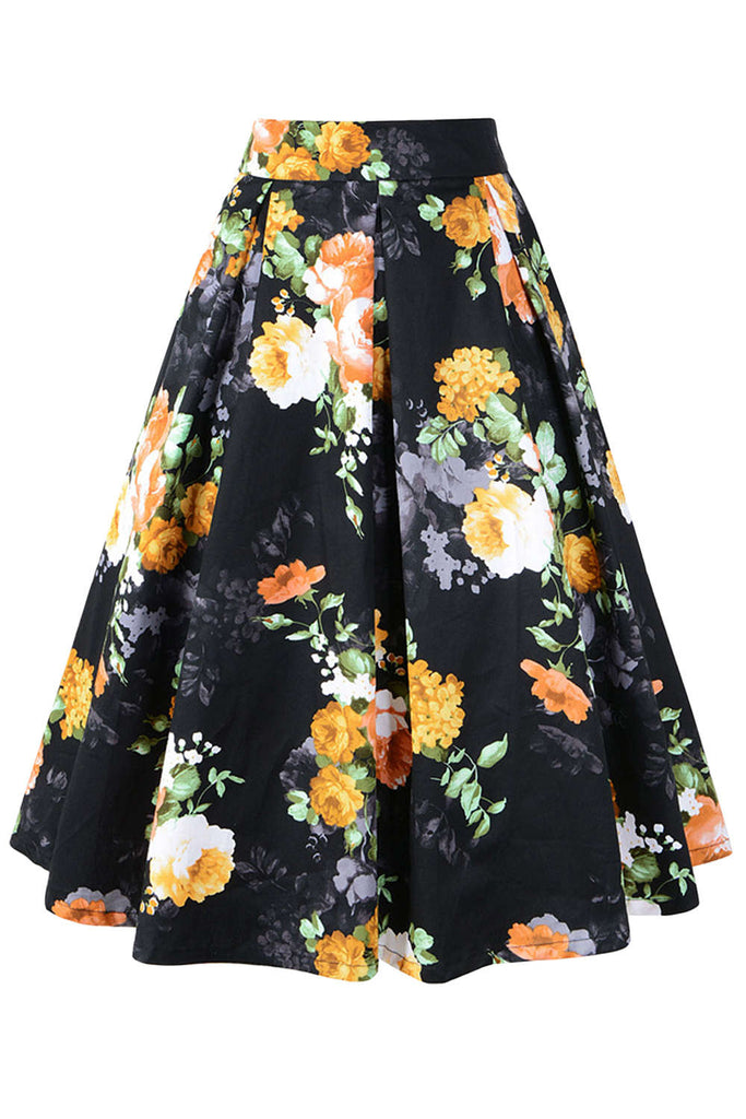 Iyasson Floral Print Pleated A-line Skirt