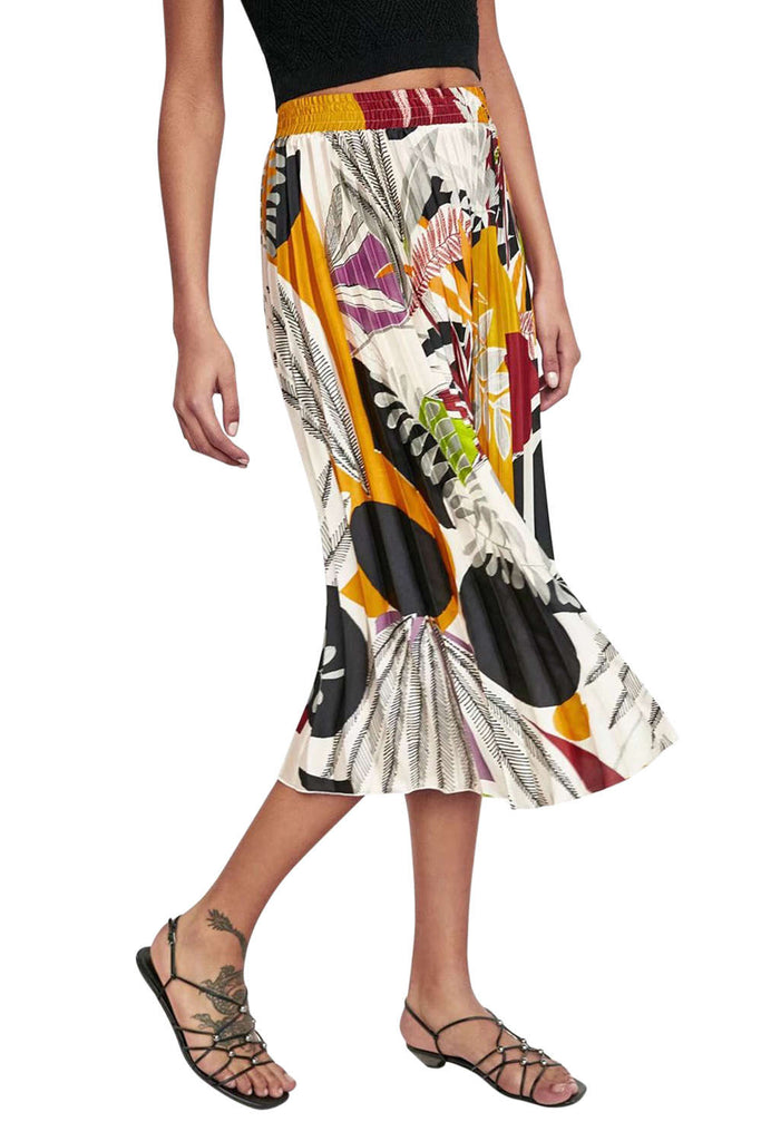 Iyasson Floral Pleated Midi Skirt