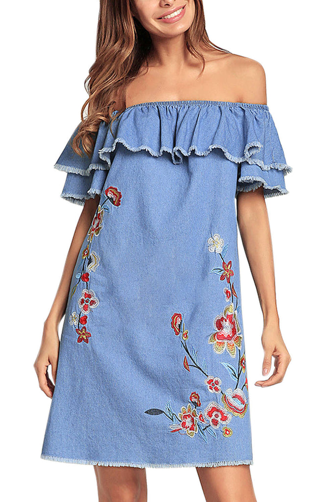 Iyasson Off Shoulder Embroidery Tiered Denim Dress