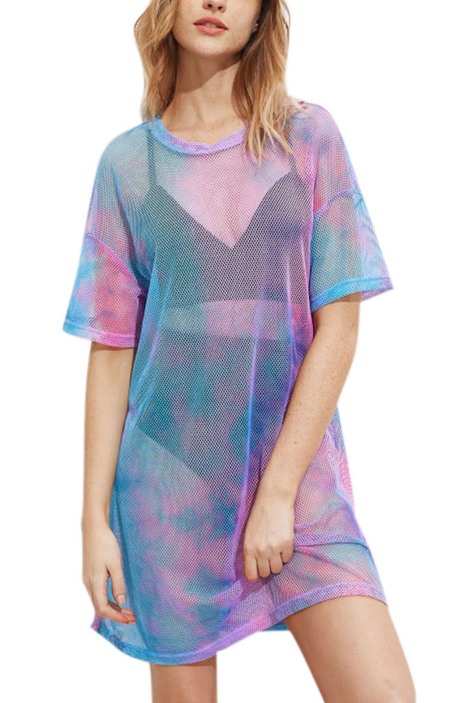 Iyasson Tie-dye Perspective Mesh See Through T-shirt