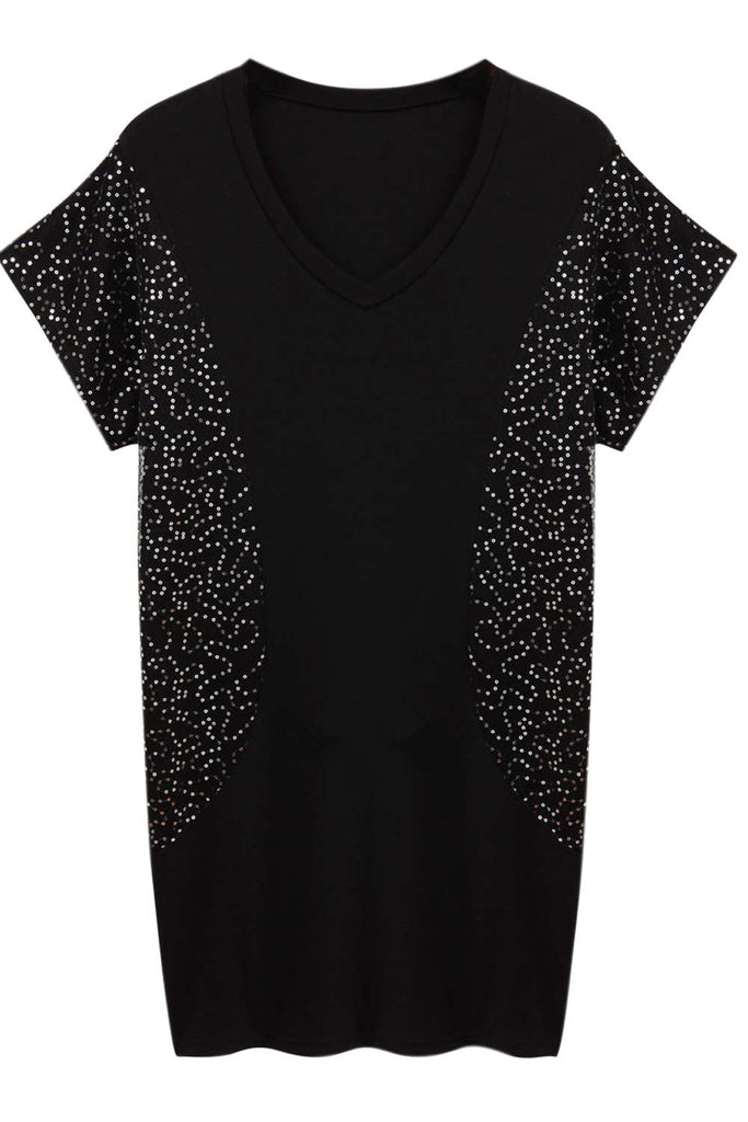 Iyasson Sequin Embellishment V-neck T-Shirt Dress