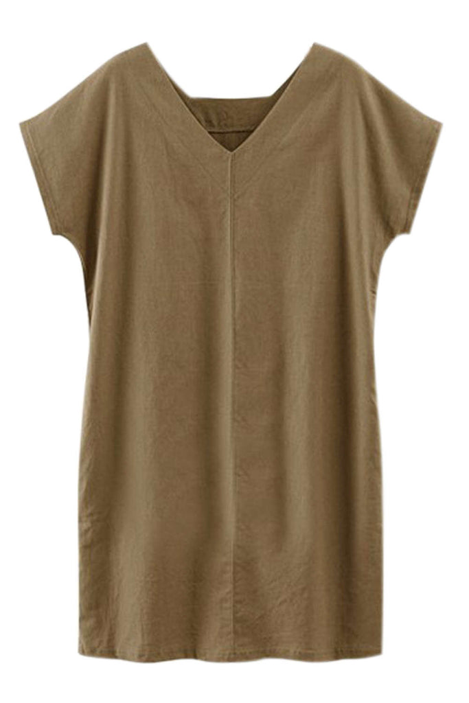 Iyasson V-neck Batwing Sleeve T-shirt Dress