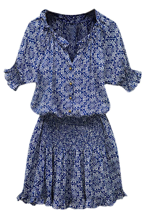 Iyasson Blue Floral Printing Ruffled Hem Dress
