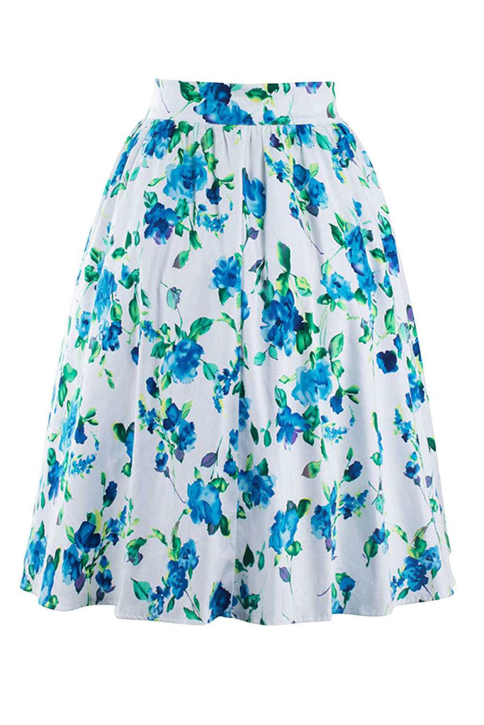 Iyasson Floral Printing High Waist Puff Skirt