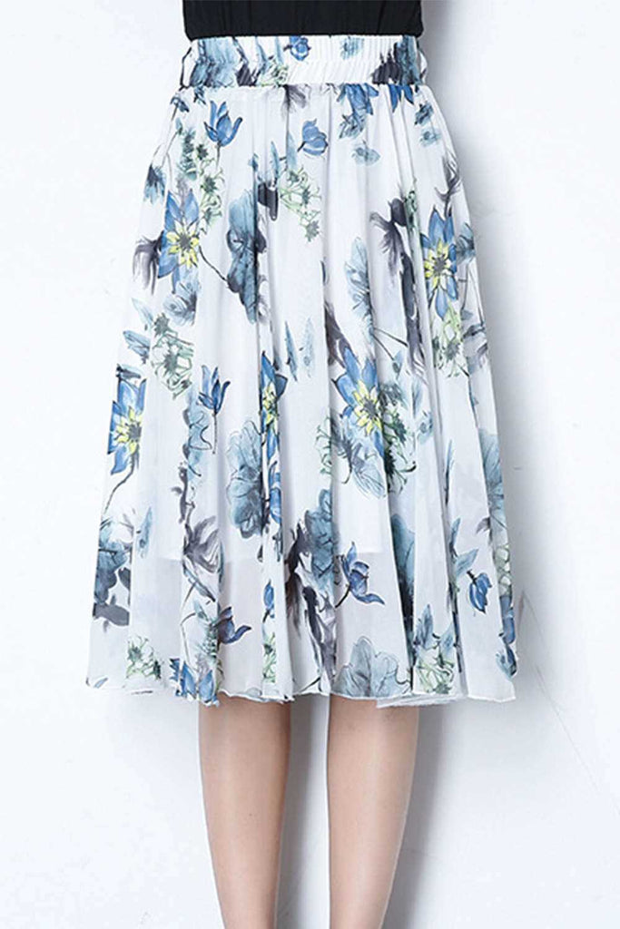 Iyasson Floral Printing Pleated Wide Hem Chiffon Skirt