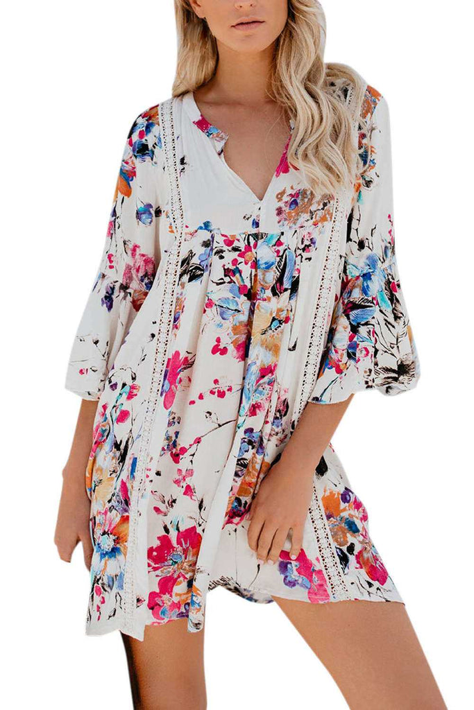 Iyasson Floral Printing V-neck Lace Splicing Ruffled Sleeve Dress