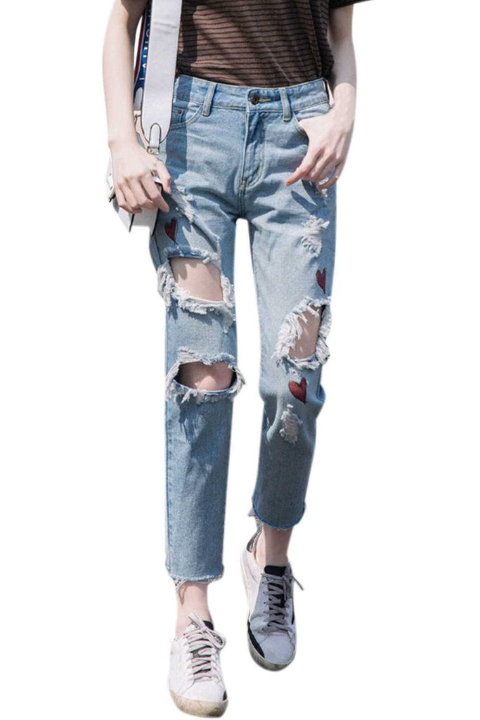 Iyasson Stretch Ripped Skinny High Waist Pants Jeans