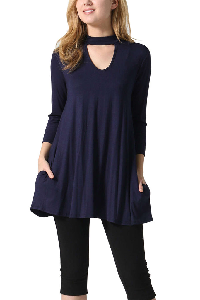 Iyasson Women's High Neck Tunic Dress
