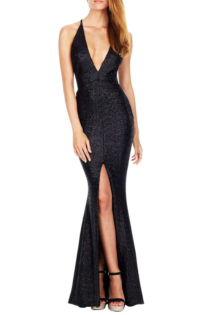 Iyasson Women's Deep V Backless Sequin Prom Dresses