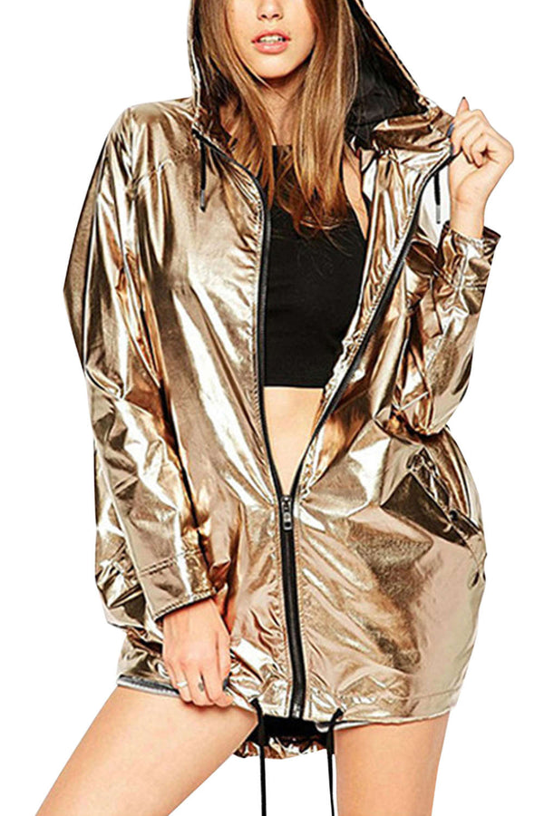 Iyasson Shining Metallic Girl's Jacket Hoodie