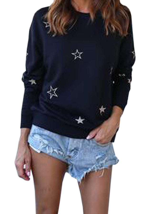 Iyasson Star Print Relaxed Fit Sweater
