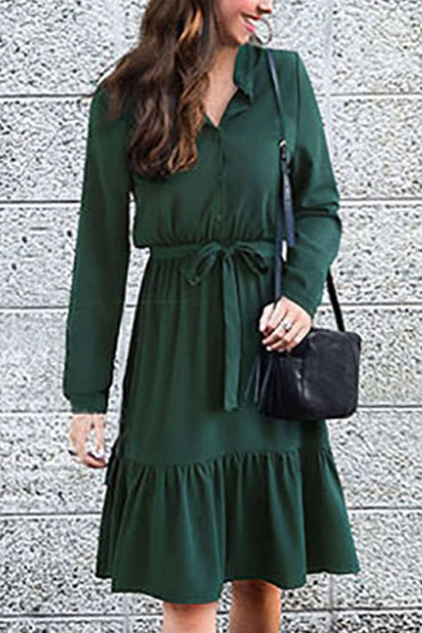 Iyasson Buttons at front Flounced Hem Midi Dress