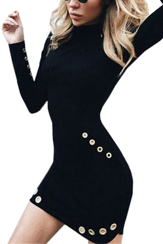 Iyasson Sexy Roll Neck Long Sleeve Body-Con Dress