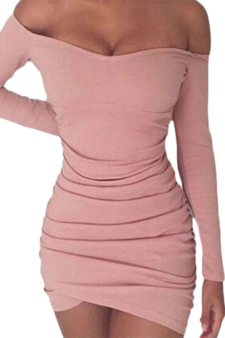 Iyasson Off shoulder Long Sleeve Body-Con Dress