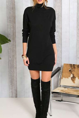Iyasson Black Roll Neck Short Knit Dress