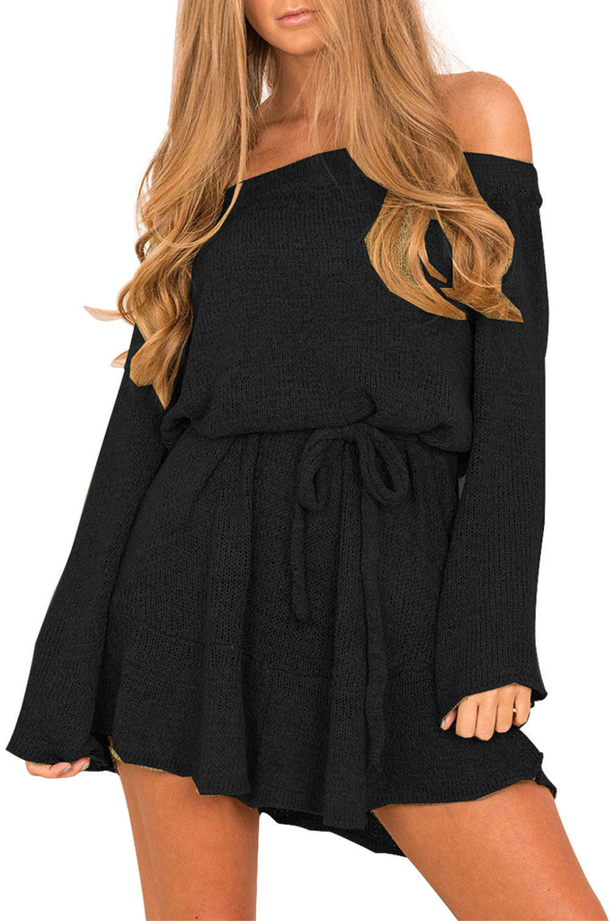 Iyasson Solid Off Shoulder Sweater Dress
