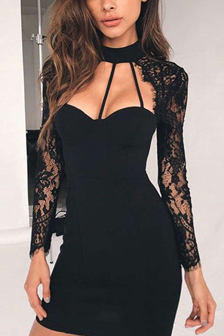 Iyasson Black Lace Splicing Body-Con Dress
