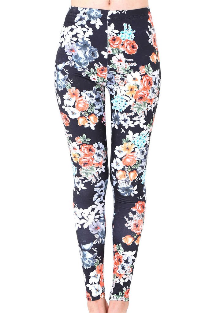Iyasson Floral Printed High Waisted Leggings
