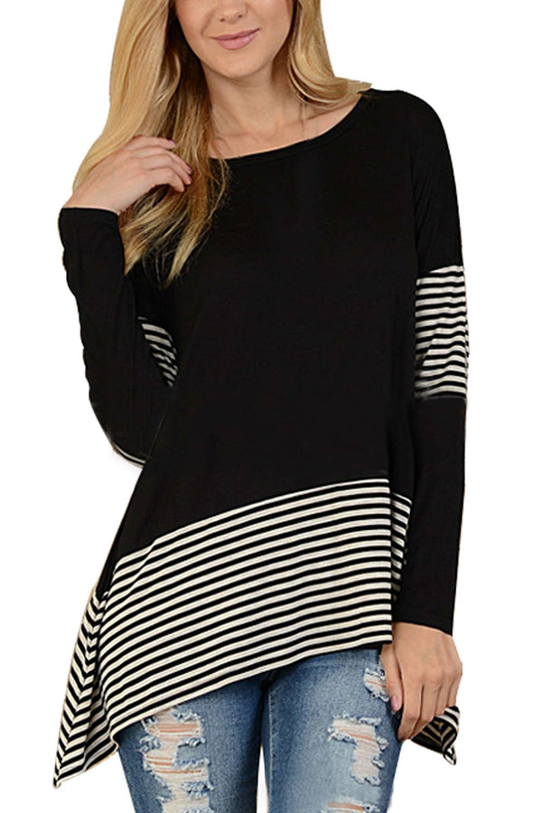 Iyasson Long Sleeve Stripe Splicing T-Shirt